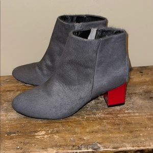 Matiko Gray Leather Fur Red Heeled Ankle Boots 9